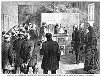0089536 © Granger - Historical Picture ArchiveCREMATION, 1876.   The cremation of the body of the German Baron de Palm, at Washington, Pennsylvania, in 1876, under the auspicies of the New York Theosophical Society. Wood engraving from a contemporary newspaper.