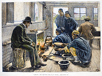 0086961 © Granger - Historical Picture ArchiveCHINA: BOILING OPIUM, 1881.   Boiling and testing opium in China. Line engraving, 1881.