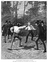 0266194 © Granger - Historical Picture ArchiveDUELING, 1888.   'The duel between M. Floquet and General Boulanger.' Engraving, 1888.