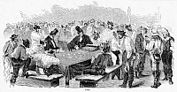 0004190 © Granger - Historical Picture ArchiveMINERS GAMBLING, 1857.   California gold miners playing at Faro. Wood engraving from an American newspaper of 1857.
