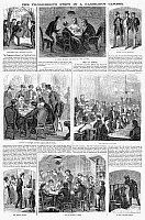 0087080 © Granger - Historical Picture ArchiveGAMBLER'S PROGRESS, 1867.   'The progressive steps in a gambler's career.' Wood engravings from an American newpaper of 1867.