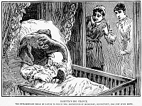 0079219 © Granger - Historical Picture ArchiveELEPHANT BOY HOAX, 1887.   'Barnum's big chance. The extraordinary freak of nature to which Mrs. Kretschner of Bridgeport, Connecticut, has just given birth.' An account from the 'Police Gazette,' 1887, of a male infant born at Bridgeport, Connecticut (the home of P.T. Barnum), with an elephant's head and trunk.
