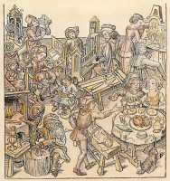 0010923 © Granger - Historical Picture ArchiveDAILY LIFE, 16th CENTURY.   German household activities in the Middle Ages. Including spanking a child, clock repair, organ making, painting, cooking, blacksmithing, and dining. Colored German woodcut, 16th century.