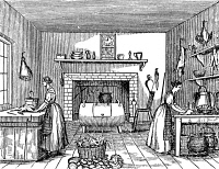 0030185 © Granger - Historical Picture ArchiveKITCHEN, 19th CENTURY.   Wood engraving, American, early 19th century.