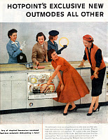 0354848 © Granger - Historical Picture ArchiveDISHWASHER, 1956.   American advertisement for a Hotpoint washing machine, 1956. Full credit: PVDE - Rue des Archives / Granger, NYC -- All rights reserved.