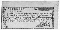 0111625 © Granger - Historical Picture ArchiveLOTTERY TICKET, 1791.   Lottery ticket sold to raise money for the Society for Establishing Useful Manufactures, based in Paterson, New Jersey, 1791.