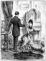 0012261 © Granger - Historical Picture ArchivePLEADING FORGIVENESS, 1885.   Wood engraving, English, 1885.