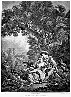 0079488 © Granger - Historical Picture ArchivePASTORAL LOVE.   Line engraving, French, 19th century, after Francois Boucher (1703-1770).