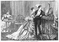 0096666 © Granger - Historical Picture ArchiveCOMPETITION FOR A MAN.  Scene from a production of the play 'Lady Flora' at the Court Theatre in London. Wood engraving from an English newspaper, 1875.