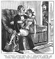 0096776 © Granger - Historical Picture ArchiveDISCARDED LOVER, 1890s.   'The curious consolations of a discarded lover at North Chicago, Ill.- He makes a dummy of some of his adored one's garments and fondles it constantly. Wood engraving from an American magazine of the 1890s.