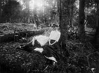 0131569 © Granger - Historical Picture ArchiveLOVERS, c1900.   Courting in the woods. Posed photograph, American, c1900.