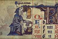0023045 © Granger - Historical Picture ArchiveFIRESIDE SCENE, c1275.   Man warming his feet by fireside: English manuscript illumination, c1275.