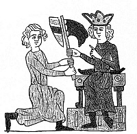 0076141 © Granger - Historical Picture ArchiveFEUDALISM, 13th CENTURY.   A king grants a fief, signified by the presentation of a flag. Line engraving after a miniature from the Heidelberg manuscript of the Sachsenspiegel, a German law code composed c1230.