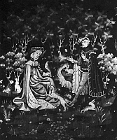 0126989 © Granger - Historical Picture ArchiveCOURTLY LOVE, c1410.   'The Offering of the Heart.' Flemish tapestry, c1410.