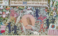 0128902 © Granger - Historical Picture ArchiveDANCE: FOXES AND GEESE.   Ring dance of foxes and geese around an owl. English manuscript illumination, early 15th century.