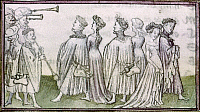 0128909 © Granger - Historical Picture ArchiveDANCERS, 15TH CENTURY.   Three couples dance to the accompaniment of a wind ensemble at the Court of Mirth. Illumination from a manuscript of the 'Romance of the Rose,' French, 15th century.
