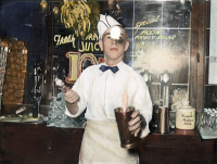 0056588 © Granger - Historical Picture ArchiveSODA JERK, 1939.   A soda jerk at a soda fountain in Corpus Christi, Texas. Oil over a photograph taken, 1939, by Russell Lee.