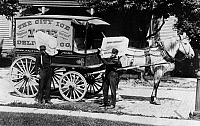 0130983 © Granger - Historical Picture ArchiveICE TRUCK, c1910.   Delivery of ice by horsedrawn truck. American postcard, c1900-1920.