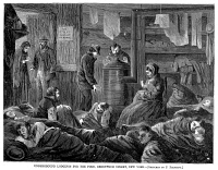 0080330 © Granger - Historical Picture ArchiveNEW YORK: POVERTY, 1869.   'Underground lodgings for the poor, Greenwich Street, New York.' Wood engraving, American, 1869.