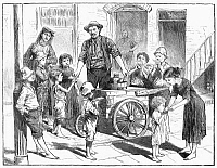0097197 © Granger - Historical Picture ArchiveNEW YORK: ICE CREAM, 1885.   An ice cream vendor serving poor children in the Five Points district of New York City. Wood engraving, American, 1885.