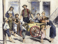 0102452 © Granger - Historical Picture ArchiveNEW YORK: ICE CREAM, 1885.   An ice cream vendor serving poor children in the Five Points district of New York City. Wood engraving, American, 1885.