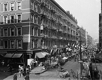 0106859 © Granger - Historical Picture ArchiveLOWER EAST SIDE, c1909.   An outdoor market on Orchard Street and Rivington Street, New York City, c1909.