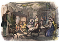 0042636 © Granger - Historical Picture ArchiveNEW ENGLAND FIRESIDE, 1855.   Wood engraving, 1855.