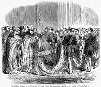 0044191 © Granger - Historical Picture ArchiveRUSSIA: ROYAL WEDDING, 1866.   The weddding in St. Petersburg, Russia, 1866, of the Czarevitch Alexander (later Czar Alexander III) and Princess Dagmar of Denmark. Wood engraving from a contemporary English newspaper.