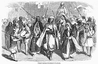 0101997 © Granger - Historical Picture ArchiveMUSLIM WEDDING, 1860.   A fellah (peasant) marriage procession in Latakia, Syria. Wood engraving, English, 1860.
