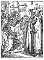 0102000 © Granger - Historical Picture ArchiveCELTIC WEDDING, 1171.   The marriage of Eva and Richard 'Strongbow' Fitzgilbert, Earl of Pembroke, at Waterford, Ireland, 1171. Wood engraving, late 19th century.