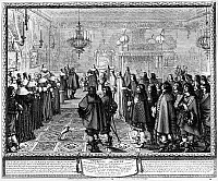 0216832 © Granger - Historical Picture ArchiveMARRIAGE CONTRACT, 1645.   Ceremony in observance of the conclusion of the contract of marriage between King Wladyslaw IV Vasa of Poland and Marie Louise Gonzaga, at Fontainebleau, France, 25 September 1645. Etching, 1645, by Abraham Bosse.