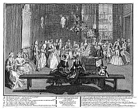 0266164 © Granger - Historical Picture ArchiveAMSTERDAM: ENGAGEMENT.   An engagement party at an upper-class home in Amsterdam. The betrothed couple is in front of the mirror at left. Copper engraving, 18th century.