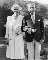 0622552 © Granger - Historical Picture ArchiveCURTIS AND ZIMBALIST, 1943.   Patron of the arts Mary Louise Curtis Bok and violinist Efrem Zimbalist, following their wedding ceremony in Rockport, Maine. Photograph, 1943.