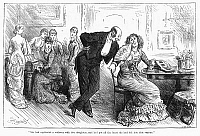 0089427 © Granger - Historical Picture ArchiveGOLD DIGGER, 1880.   'She had captivated a widower with five daughters and had put all the heart she had left into that venture.' Wood engraving from an English newspaper column of 1880.