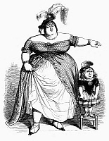 0097631 © Granger - Historical Picture ArchiveOBESE WOMAN AND CHILD.   Line engraving, 1844, after a drawing by Grandville for his 'Un Autre Monde.'