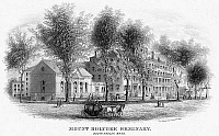 0077367 © Granger - Historical Picture ArchiveMOUNT HOLYOKE, c1850.   Mount Holyoke Seminary at South Hadley, Massachusetts, the first women's college in the United States. Steel engraving, c1850.