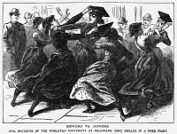 0259321 © Granger - Historical Picture ArchiveCOLLEGE: OHIO WESLEYAN.   Seniors and juniors at Ohio Wesleyan University in Delaware, Ohio, in a fight. Wood engraving from the Police Gazette, late 19th century.