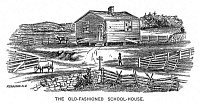 0000109 © Granger - Historical Picture ArchiveOLD-FASHIONED SCHOOLHOUSE.   Wood engraving, American, 19th century.
