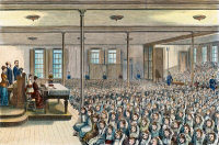 0010943 © Granger - Historical Picture ArchiveNYC SCHOOL ROOM, 1881.   Beginning the day in a New York City public school with exercises set to music, a new feature of the curriculum in 1881. Color wood engraving.