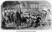0014561 © Granger - Historical Picture ArchiveONE-ROOM SCHOOLHOUSE.   'The Frontier Teacher And His School.' A Schoolroom on the western frontier. Wood engraving, American, 1883.