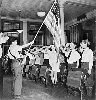 0119333 © Granger - Historical Picture ArchivePLEDGE OF ALLEGIANCE, 1943.   Students at an elementary school in an Italian-American neighborhood of New York City, reciting the pledge of allegiance. Photograph by Marjory Collins, 1943.
