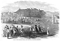 0003967 © Granger - Historical Picture ArchiveFREEDMAN'S SCHOOL, 1866.   Noon at the primary school for Freedmen at Vicksburg, Mississippi. Wood engraving, American, 1866.