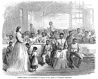 0003968 © Granger - Historical Picture ArchiveFREEDMAN'S SCHOOL, 1866.   'Primary school for freedmen, in charge of Mrs. Green, at Vicksburg, Mississippi.' Wood engraving from an American newspaper of 1886.