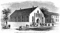 0005734 © Granger - Historical Picture ArchiveFREEDMEN SCHOOL, 1867.   St. Philip's Protestant Episcopal Church, Richmond, Virginia, used as a Freedmen School after the Civil War. Wood engraving from an American newspaper of 1867.