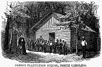 0012548 © Granger - Historical Picture ArchiveFREEDMEN SCHOOL, 1868.   James' Plantation School, North Carolina. Wood engraving, American, 1868.