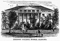 0092990 © Granger - Historical Picture ArchiveALABAMA: EMERSON COLLEGE.   Emerson College, a freedmen's preparatory school at Mobile, Alabama. Wood engraving, American, 1868.