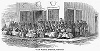 0092991 © Granger - Historical Picture ArchiveFREEDMEN'S SCHOOL, 1868.   The Coan School at Norfolk, Virginia, established for freedmen after the Civil War. Wood engraving, American, 1868.