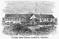0092993 © Granger - Historical Picture ArchiveFREEDMEN'S SCHOOL, 1868.   Butler High School at Hampton, Virginia, established as a school for freedmen after the Civil War. Wood engraving, American, 1868.