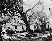 0260127 © Granger - Historical Picture ArchivePENN SCHOOL, 1862.   A view of Penn School, the first school for freed slaves on St. Helena Island, South Carolina. Photograph, 1862.