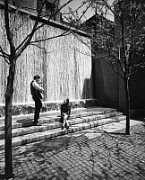 0259652 © Granger - Historical Picture ArchiveAMERICAN COUPLE, 1967.   A man plays guitar for a girl near a fountain. Photograph by Gene Cook, 1967.